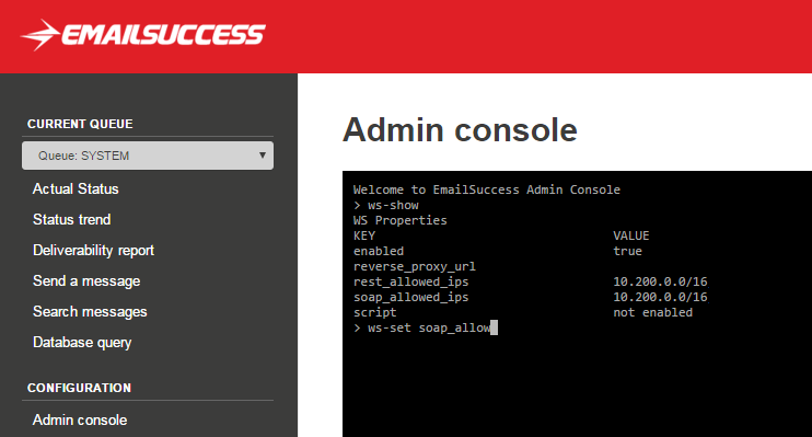 EmailSuccess Web Console